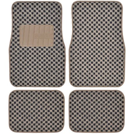 Motor Trend Fatrug Checkered Carpet Floor Mats Gray Vintage Classic 4pc Set For Car Truck Or Suv