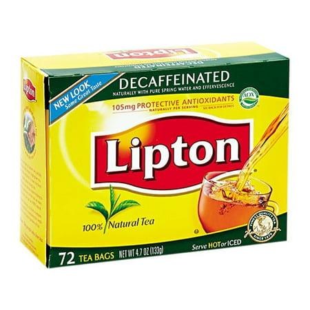 Lipton Decaffinated Tea Bags 72/Box - Lipton Decaffeinated Tea
