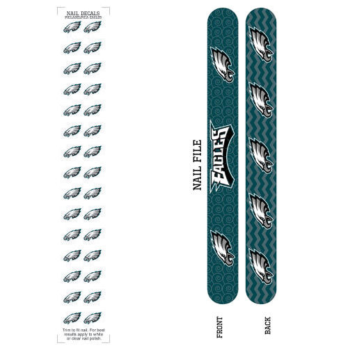 Bundle 2 Items: Philadelphia Eagles Nail File and Nail Sticker Decals