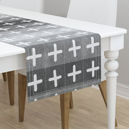 Table Runner Swiss Cross Patchwork Geometric Boho Rustic Cheater Cotton Sateen