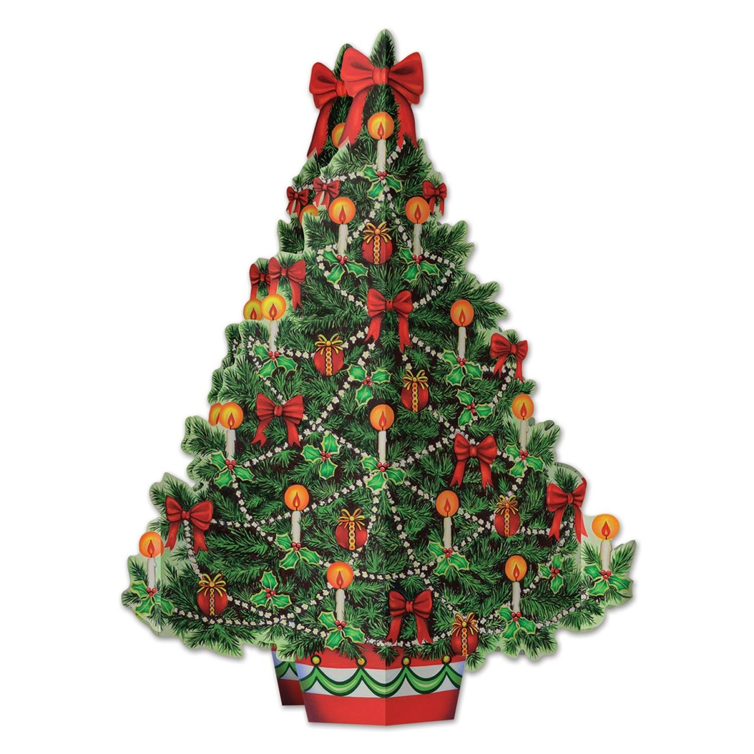 Club Pack of 12 Christmas Tree 3-D Centerpiece Holiday Decorations 11.75""