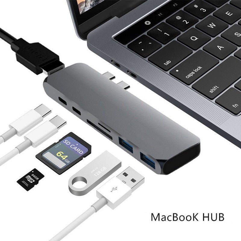 7in1 USB-C Hub Dual Type-C Multiport Card Reader Adapter 4K HDMI For MacBook Pro(Gray)