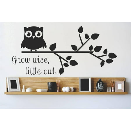 Custom Wall Decal Vinyl Sticker Grow Wise Little Owl Quote Home Livin
