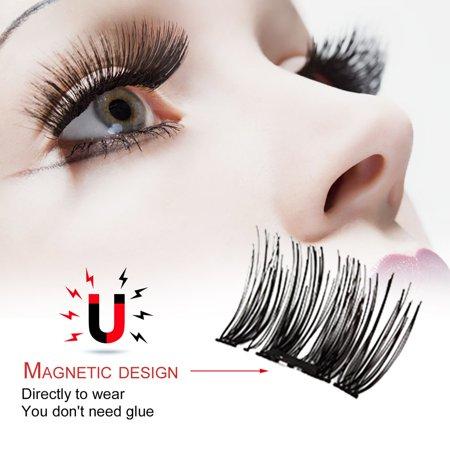3D Magnetic Eyelash Glue Free Eyelashes 4 Pieces Recycle DIY False Eyelashes - image 3 de 7