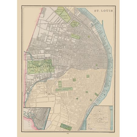 Historic City Map - St. Louis - Cram 1892 - 23 x 30.71 - Walmart.com