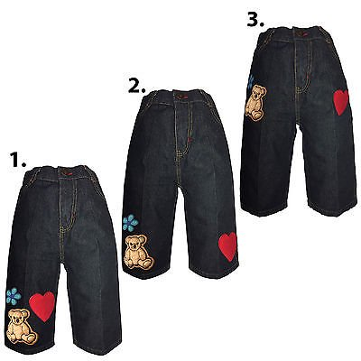Kaylee Firefly Infant Baby Girl Toddler Denim Woven Jeans with Teddy Bear 12M-3T - Firefly Denim