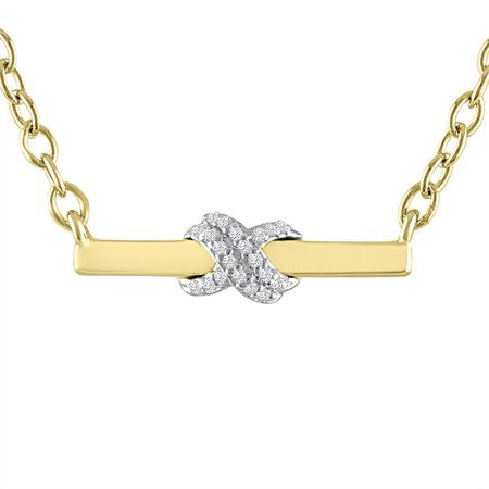 Diamond Accent X Bar Necklace in 14K Gold Plated Sterling - Diamond Bar Accent