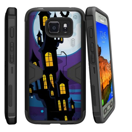 Samsung Galaxy [ S7-ACTIVE model] G891A Dual Layer Shock Resistant MAX DEFENSE Heavy Duty Case with Built In Kickstand - Haunted Mansion