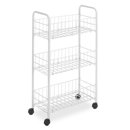 Three Tier Cart (Whitmor 3 Tier Small Wire Craft Rolling Cart, White)