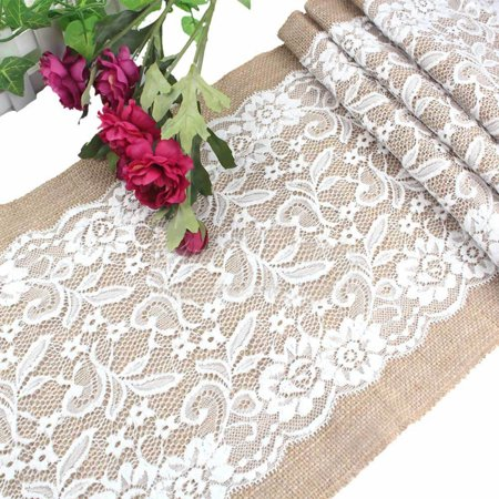 Micelec Vintage Burlap White Lace Table Runner Natural Jute Wedding Party Decoration (Burlap Table Runner Wedding)