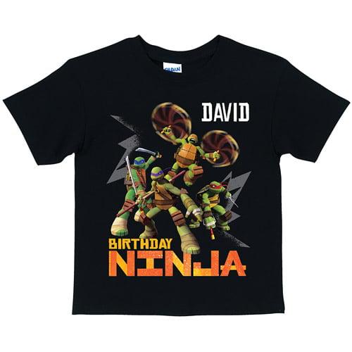 Personalized Teenage Mutant Ninja Turtles Birthday Ninja Youth Black T-Shirt