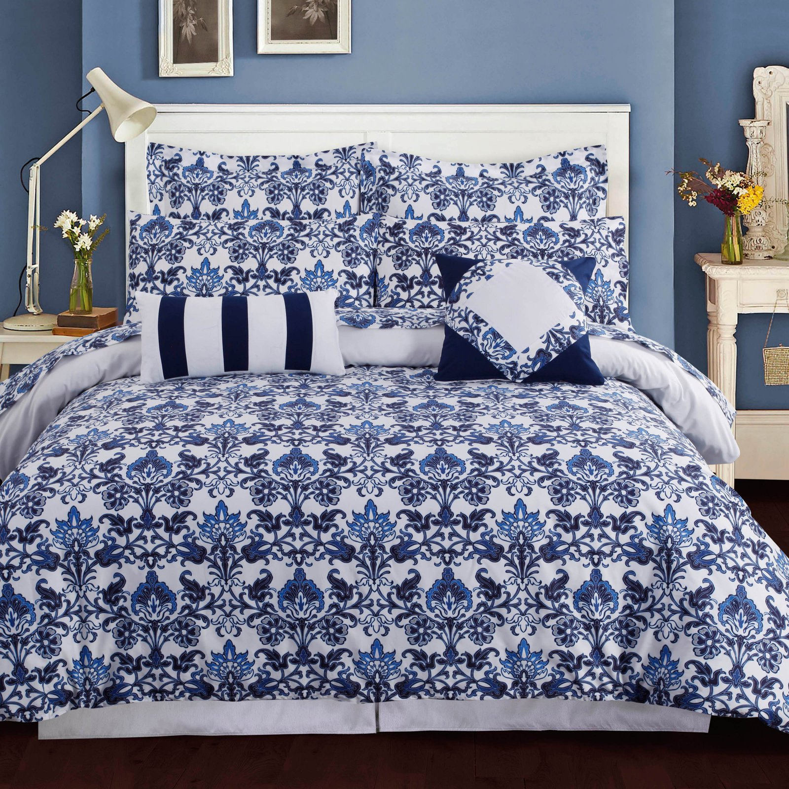 Tribeca Living Catalina 300TC Egyptian Cotton Percale 5-Piece Printed Duvet Set