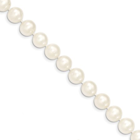 Roy Rose Jewelry 14K Yellow Gold 9-10mm White Near Round Freshwater Cultured Pearl Necklace ~ length: 28