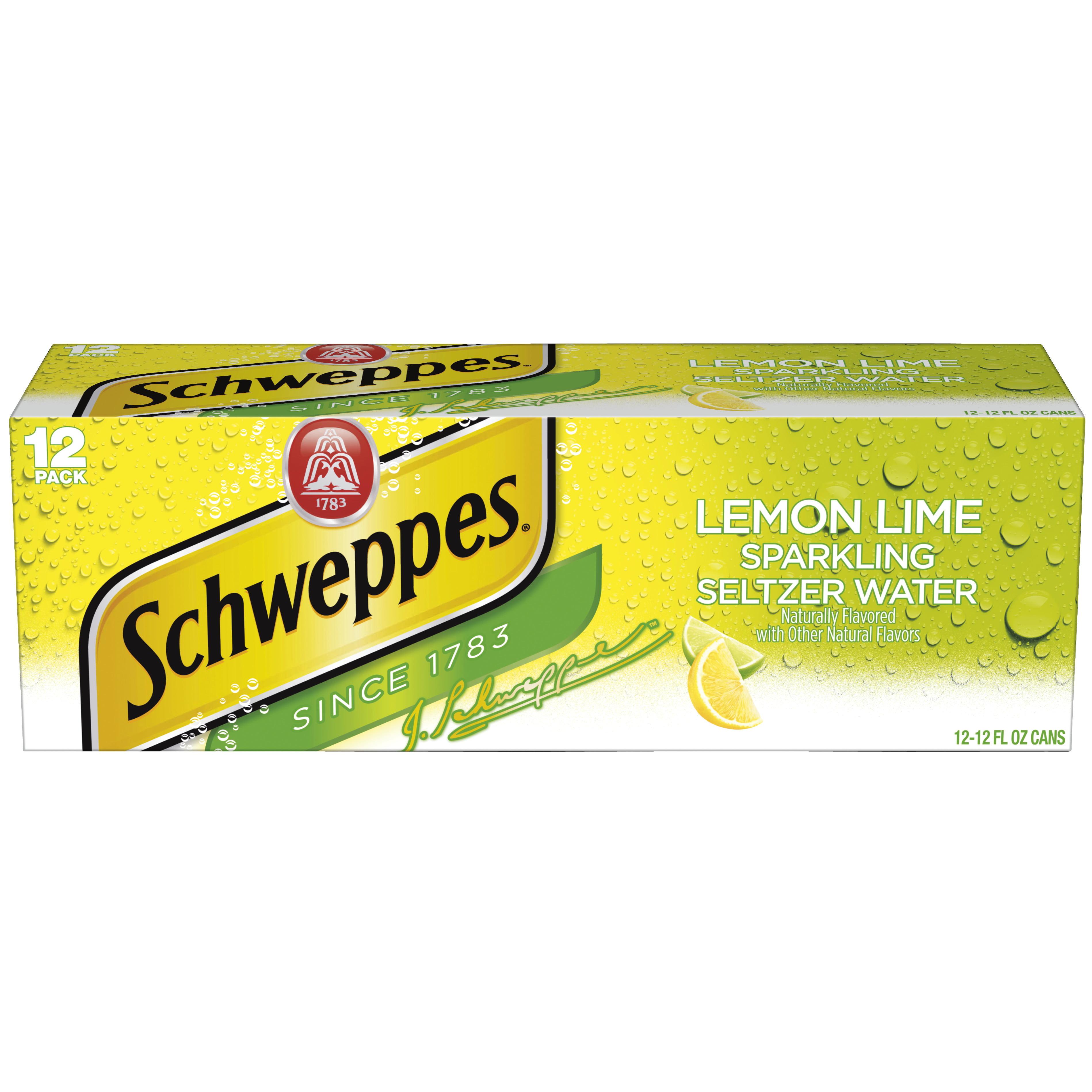 Schweppes Lemon Lime Sparkling Seltzer Water, 12 fl oz, 12 pack