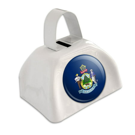 Maine State Flag White Cowbell Cow Bell - Cheap Cowbells