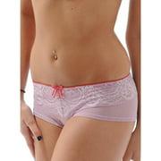 Le Mystere Womens Lace Boy Shorts Sheer Mesh Scalloped Cheeky Panties Purple