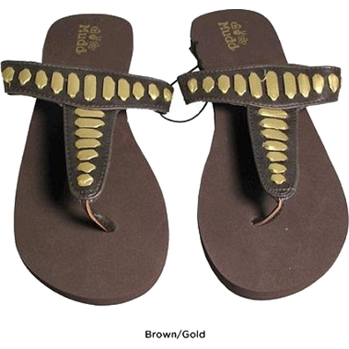 Mudd FOM277 Sandals Brown/Gold Size Large