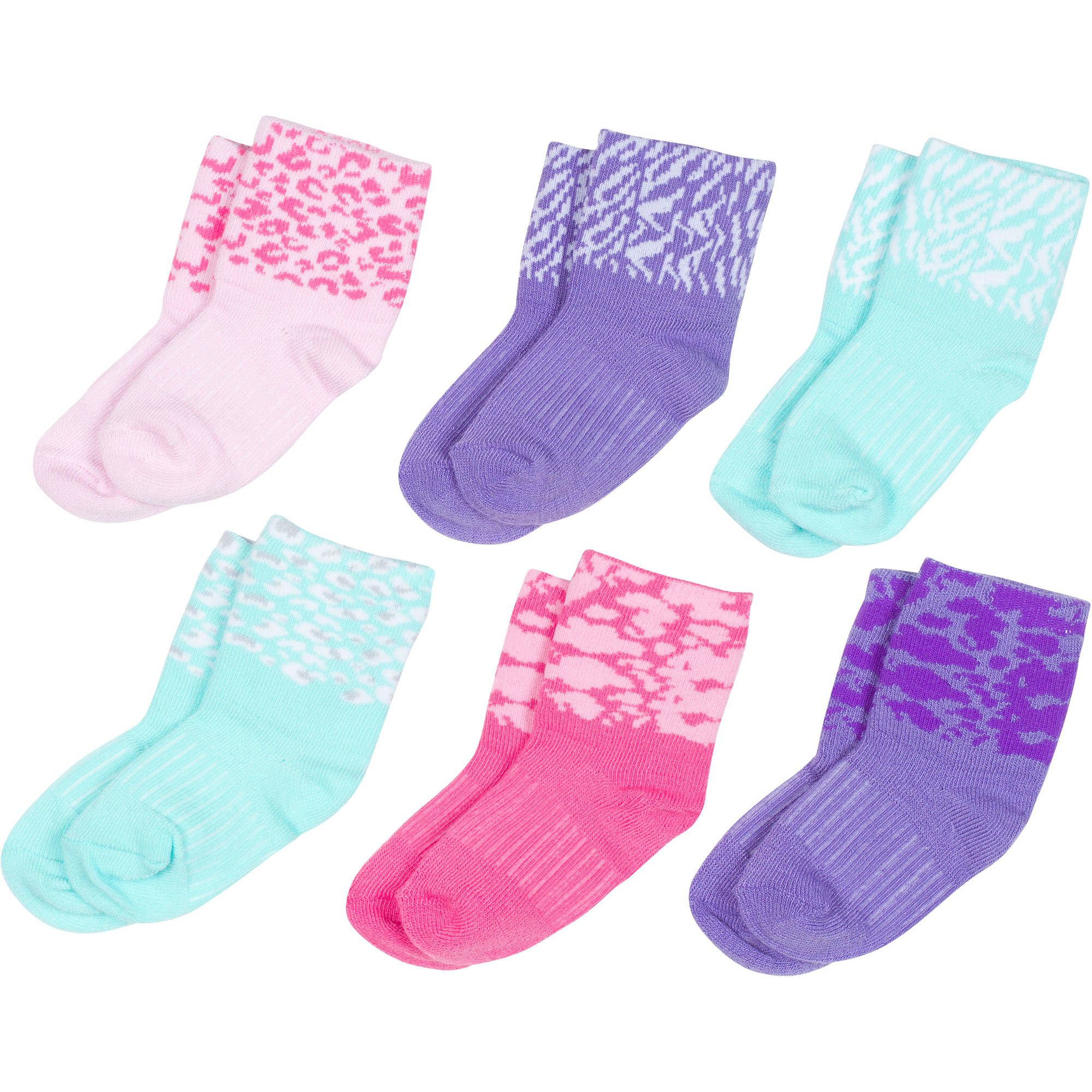 Growing Socks by Peds, Girl Infant, Animal Prints, 6 Pairs