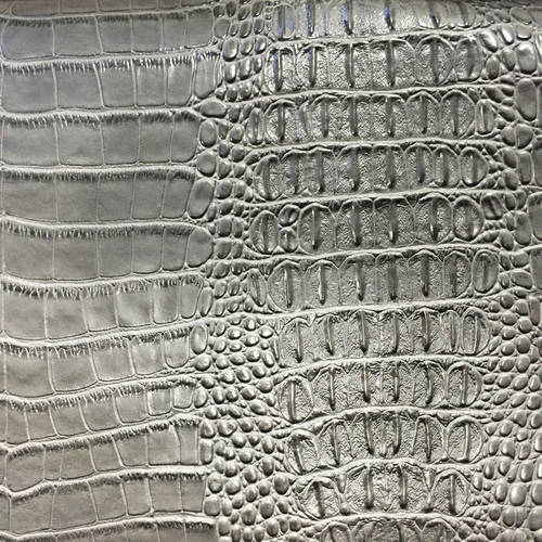 Shason Textile Faux Leather Crocodile Print Upholstery Fabric, Gray, Available In Multiple Colors by Shason Textile