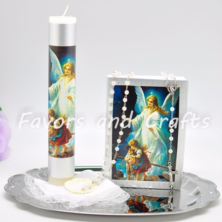 Guardian Angel Baptism Candle Set Boys Girl Set de Vela de Bautizo Christening