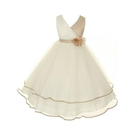 Kids Dream Little Girls Champagne Ivory Criss-Cross Satin Flower Girl Dress