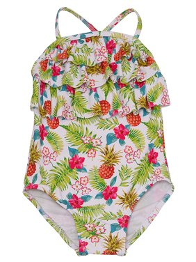 Solo International Little Girls Multi Color Floral Print Ruffled Swimsuit
