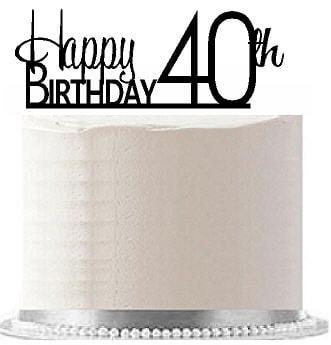 Item#AE-144 Happy 40th Birthday Agemilestone Elegant Cake Topper
