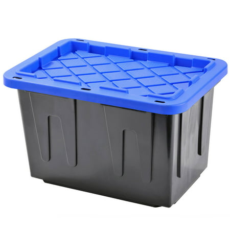 Plastic Heavy Duty Storage Tote Box, 23 Gallon, Black With Blue Snap Lid, Stackable, 4-Pack Plastic Box Lid