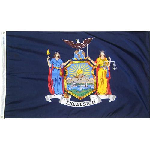 New York State Flag, 4' x 6', Nylon SolarGuard Nyl-Glo, Model# 143870