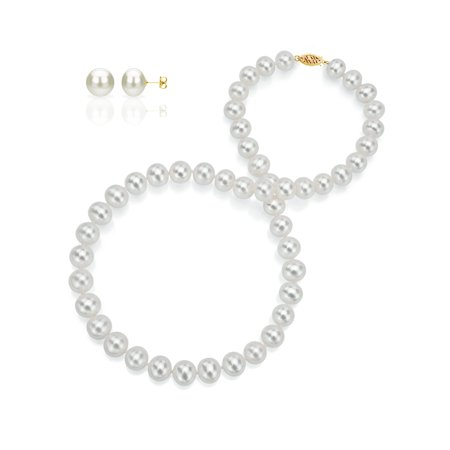 ADDURN 14Kt Yellow Gold Freshwater Pearl Necklace and Earring Set For Woman - AAA Quality - Variant Sizes Available.