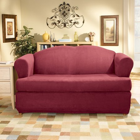 Sure Fit Stretch Suede 2 Piece T Cushion Loveseat Slipcover