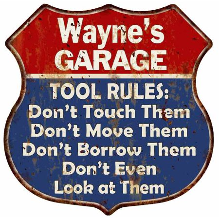 Wayne's Garage Man Cave Rules Personalized Gift Shield Metal Sign