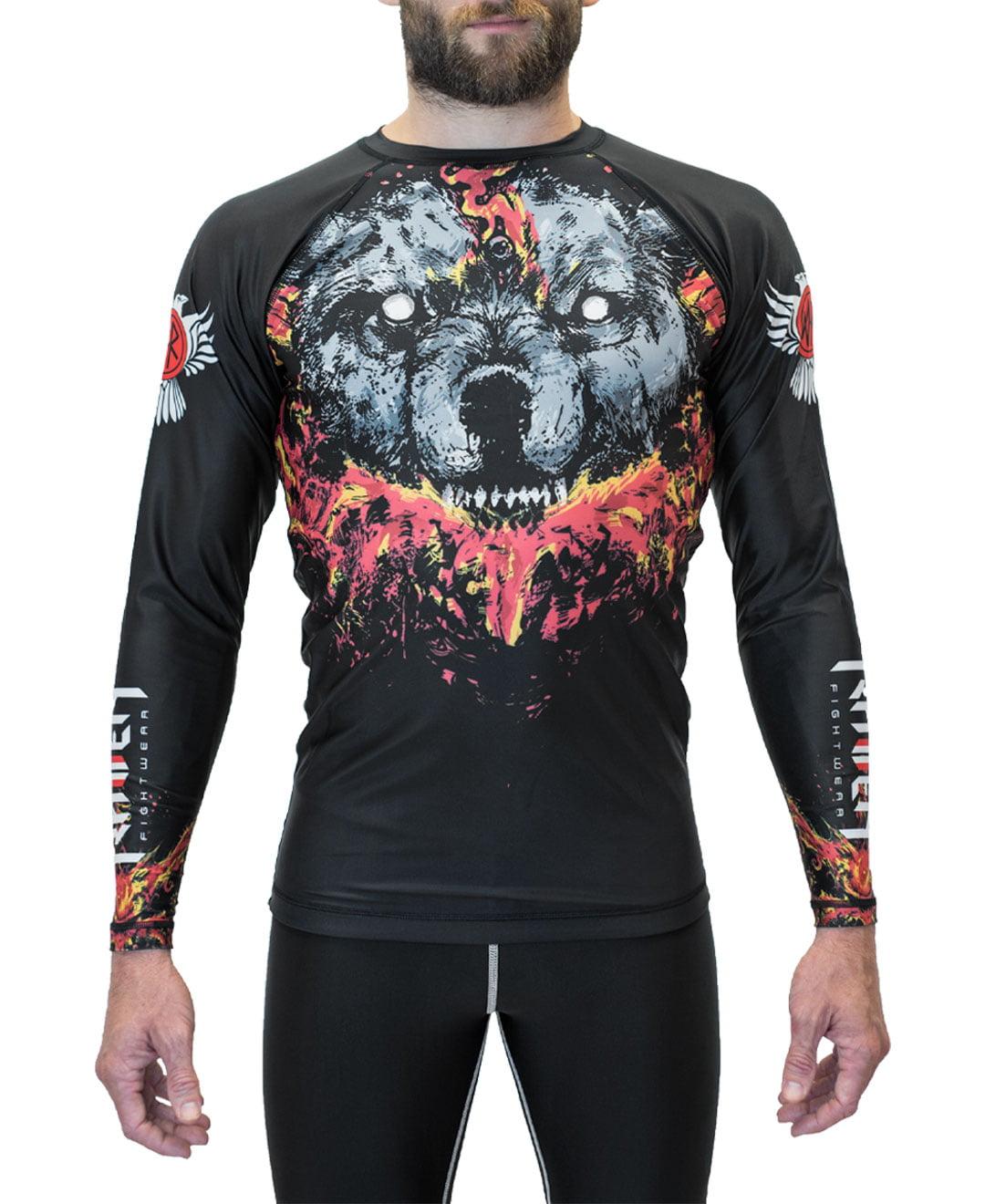Raven Fightwear Men's Cerberus MMA BJJ Rash Guard Black 2X-Large