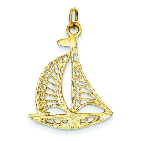14K Yellow Gold Filigree Sailboat Charm Sailing Jewelry (14k Yellow Gold Boat)