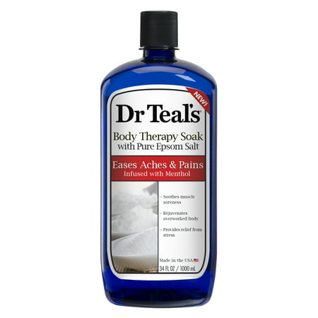 Dr Teal's Body Therapy Soak with Pure Epsom Salt, Eases Aches & Pains Infused with Menthol, 34 oz