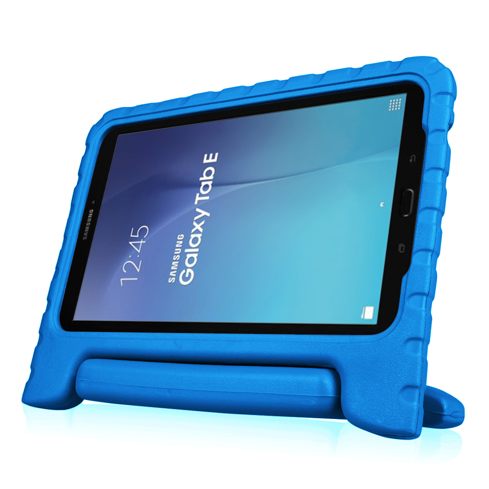 For Samsung Galaxy Tab E 9.6 Tablet Kiddie Case - Lightweight Shock Proof Convertible Handle Stand Cover, Blue
