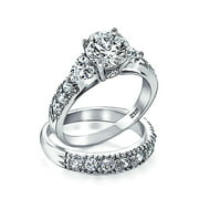 3CT Round Solitaire Brilliant Cut Heart Shaped AAA CZ Pave Band Engagement Wedding Ring Set For Women Sterling Silver