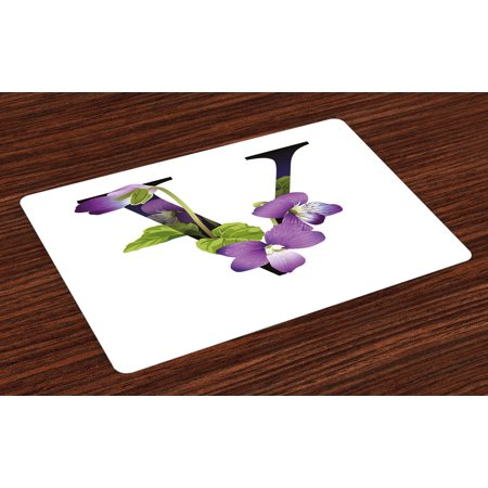 Letter V Placemats Set of 4 Viola Sororia Wildflowers on the V Natural Arrangement Floral Initial, Washable Fabric Place Mats for Dining Room Kitchen Table Decor,Violet Green Black, by Ambesonne