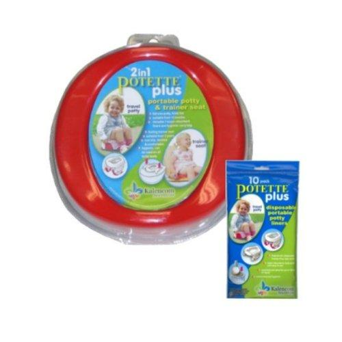 Potette Plus Travel Potty includes EXTRA 10-Pack of Liners (Assorted Colors)