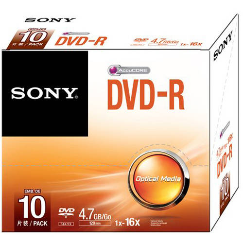 Sony DVD-Rs with Jewel Cases, 10-Pack