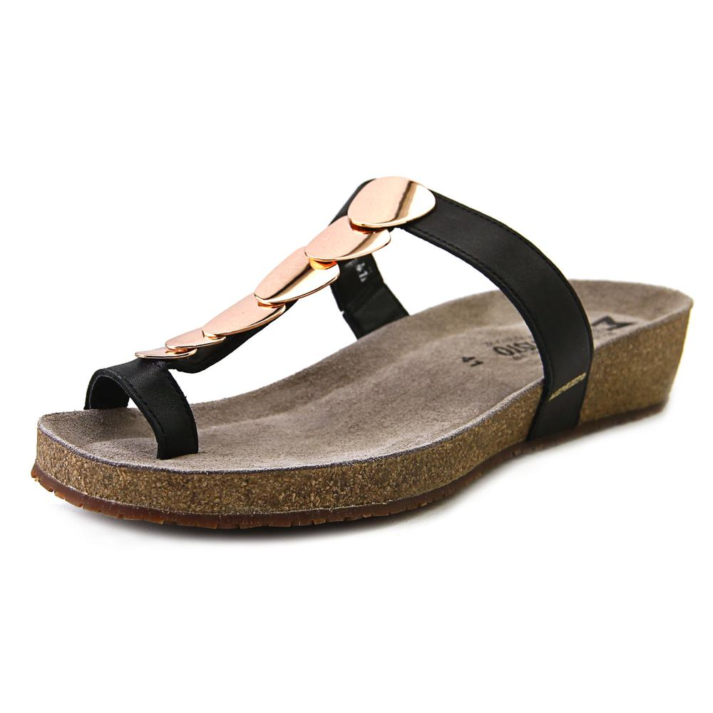 Mephisto Ileane Women Open Toe Leather Black Thong Sandal by Mephisto