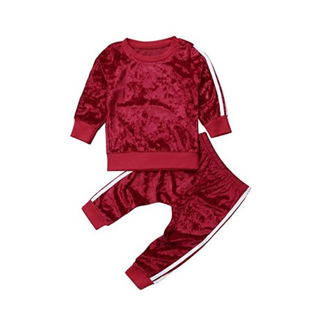 Unisex Newborn Clothes Sets Girls Long Sleeve Velvet Pullover Sweatshirt Tops+Long Pants Set Kids Girls Warm Autumn Winter School Clothing Set Outfit](Winter Soldier Outfit)