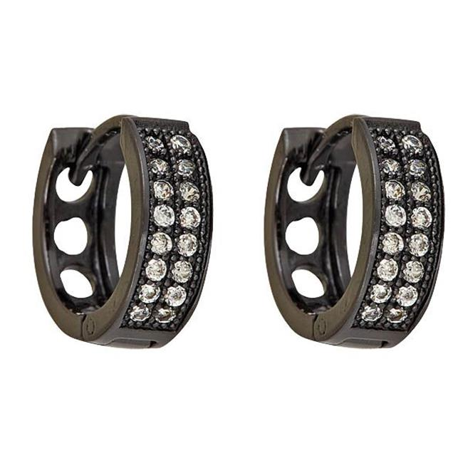 YGI GroupSHE114 2 Strand Black Micropave Huggies Earring with Cubic Zirconia