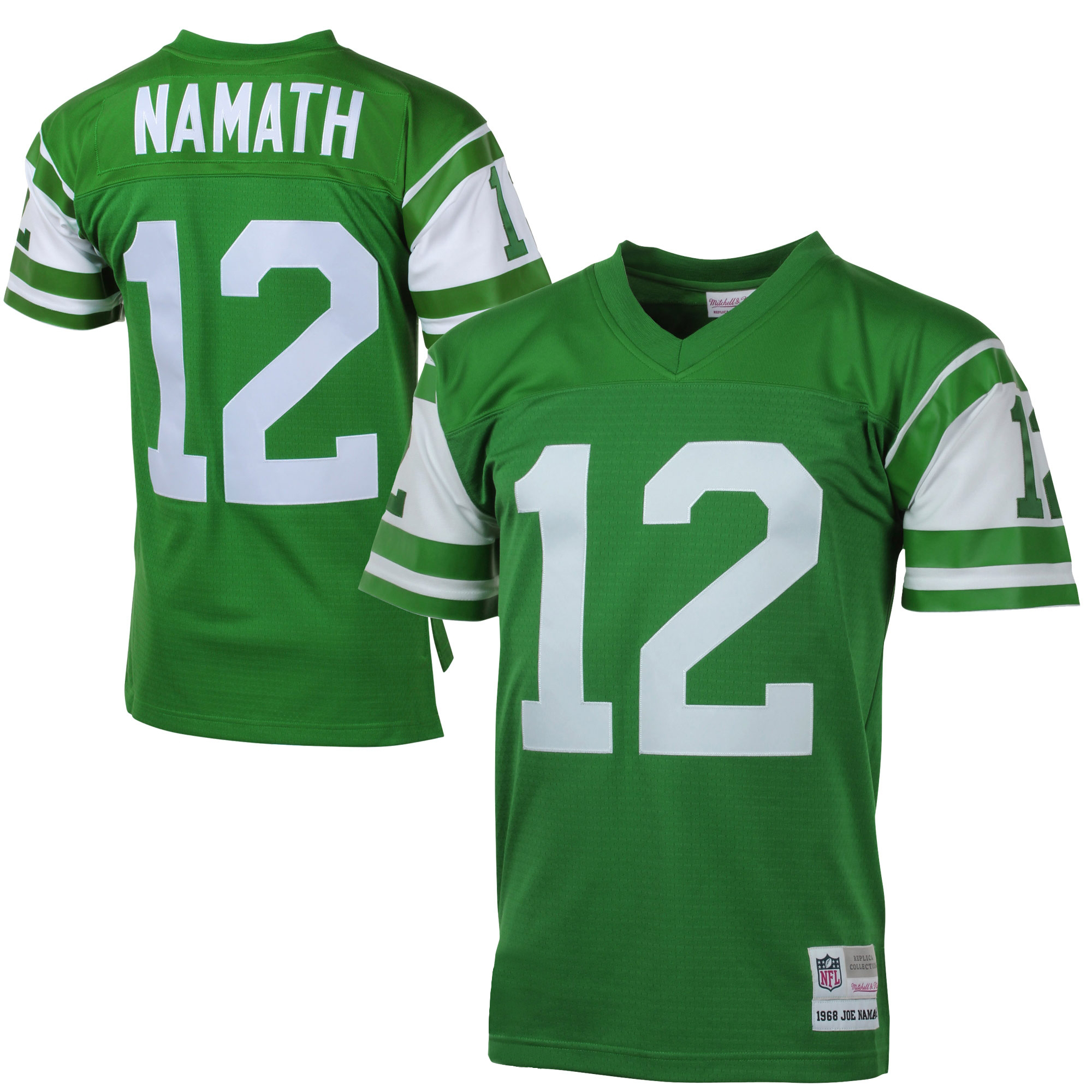 new arrival ed6cb 4fe63 joe namath new york jets nfl mitchell & ness green 1968 official throwback  retro player jersey for men