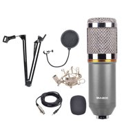 BM-800 Professional Studio Broadcasting Recording Condenser Microphone with Shock Mount and Stand (Black and Silver)