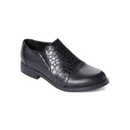 Liyu Adult Black Snake Skin Plain Cap Toe Slip-On Oxford Shoes