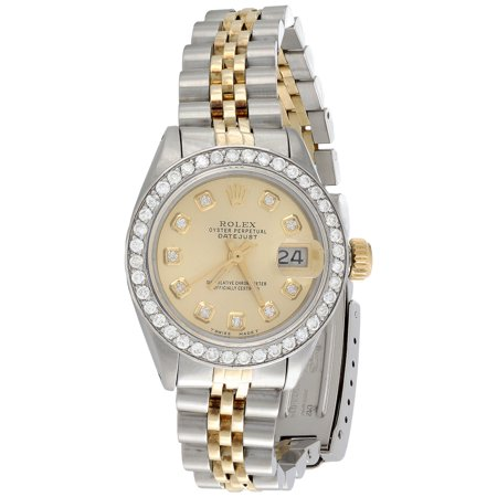 Ladies 18K / Steel Rolex DateJust Jubilee 6917 Diamond Watch Champagne Dial 1 (Large Automatic Steel White Dial)