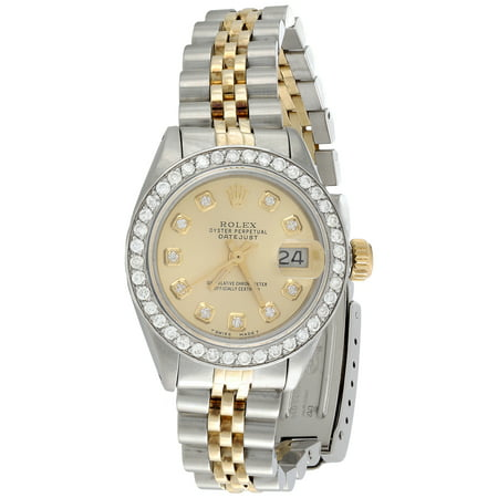 Ladies 18K / Steel Rolex DateJust Jubilee 6917 Diamond Watch Champagne Dial 1 CT. (Rolex 2018)