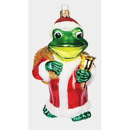 Fraga Christmas Ornament - Frog Dressed as Santa Claus Polish Mouth Blown Glass Christmas Ornament