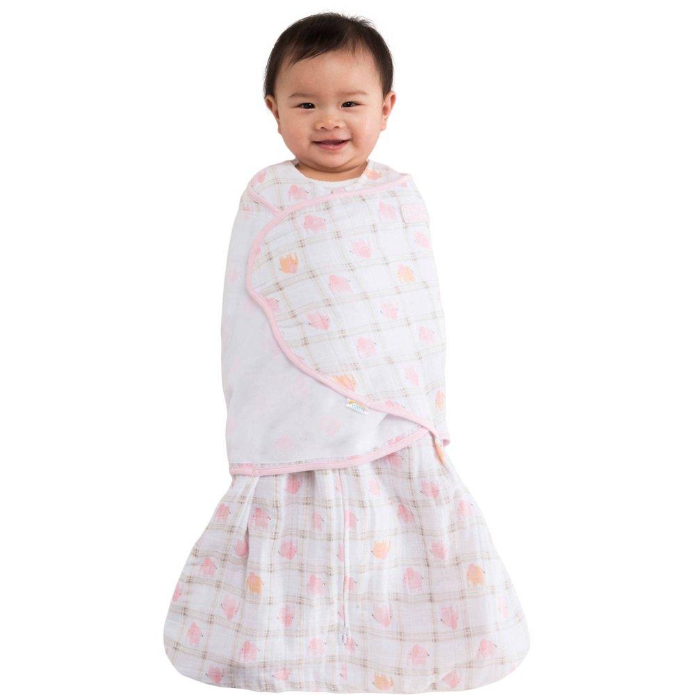 HALO SleepSack Swaddle, 100% Cotton Muslin, Pink Elephant Plaid, Newborn